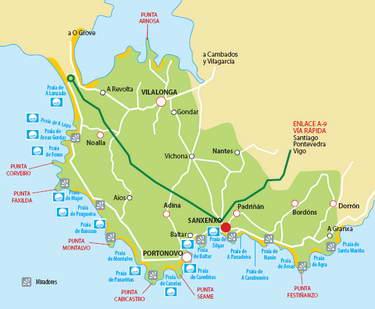 sanxenxo mapa Playas de Sanxenxo   Vacaciones en Galicia | Turismo en Galicia  sanxenxo mapa